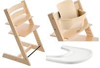 כיסא אוכל רב שלבי טריפ טראפ טבעי Tripp Trapp + בייבי סט טבעי + מגש לבן מתנה
