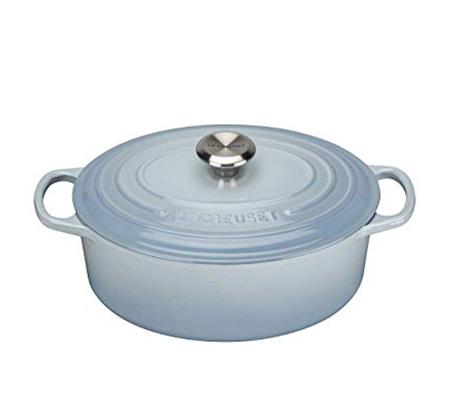 """סיר תכלת 29 ס""""מ אובלי ברזל יצוק לכל סוגי הכיריים ולתנור"""