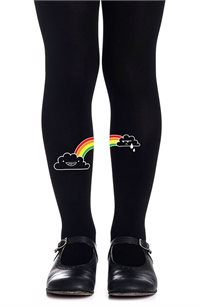 גרביון עם הדפס צבעוני Let It Rainbow Girls Black - שחור