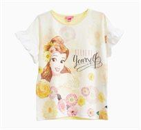 חולצה קצרה לילדות בצבע צהוב עם הדפס היפה והחיה