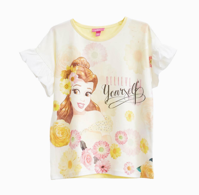 חולצה קצרה OVS לילדות - צהוב עם הדפס היפה והחיה