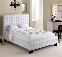 מיטה זוגית מרופדת בגימור לבן מעור אמיתי דגם CHRISTINA מבית GAROX - משלוח חינם