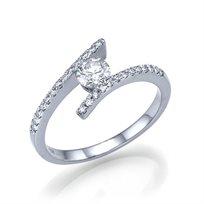 טבעת אירוסין זהב לבן שאנון 0.70 קראט מעוצבת בסגנון חדשני ונוצץ