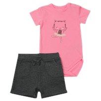 Minene חליפת בגד גוף (6-24 חודשים) - חתול ורוד