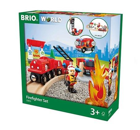 סט הצלה רכבת כיבוי אש, משאיות ופסי רכבת + דמות