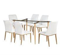 פינת אוכל מודרנית מזכוכית כוללת 6 כיסאות מרופדים