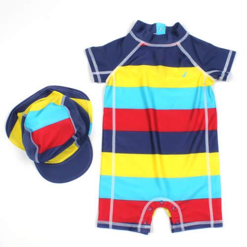 Nautica / נאוטיקה (0-3) בגד ים חליפה נאוטיקה עם כובע