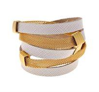 צמיד מתלפף חדש בציפוי זהב 24 קראט עם עור לבן