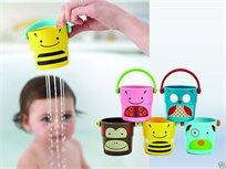 מארז 5 דליי חיות משחק צבעוניות לאמבטיה