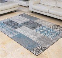 שטיח לסלון בעבודת יד ג'אקרד פאטצ' בצבע חום כחול אנטיק גדלים לבחירה