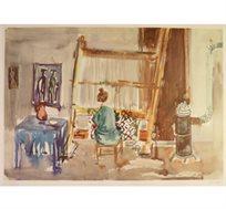 """מסגרת מתנה! """"האורגת - 1971"""" - ציורו של קוסונוגי יוסף, הדפס בחתימה אישית בגודל 64X64 ס""""מ"""