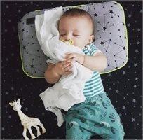 Babymitmit כרית שינה למיטת תינוק - Galaxy אפור צהוב