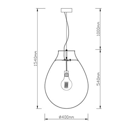 מנורת תליה מעוצבת פרגי ביתילי המשלבת זכוכית בגימור קוניאק ובית נורה מתכתי בגימור נחושת - תמונה 2