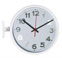 שעון קיר מתכת וזכוכית דו צדדי