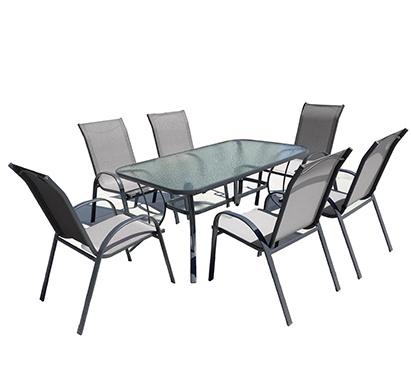 מערכת ישיבה לגינה הכוללת שולחן עם פלטת זכוכית ו-6 כסאות ממתכת וגוף עשוי בד דגם לאס וגאס CAMP IN - משלוח חינם