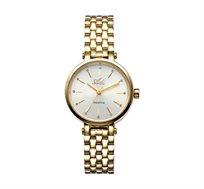 שעון יד אופנתי לאישה ADI עשוי פלדת אל חלד מוזהבת וזכוכית ספיר עמידה בפני שריטות עמיד במים