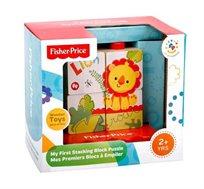 משחק התפתחות פאזל עם 4 קוביות מעץ מלא מגיל שנתיים+ Fisher Price