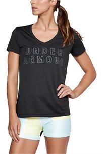 טי שרט אימון לאישה UNDER ARMOUR עם הדפס דגם 1305419 בצבע שחור/לבן