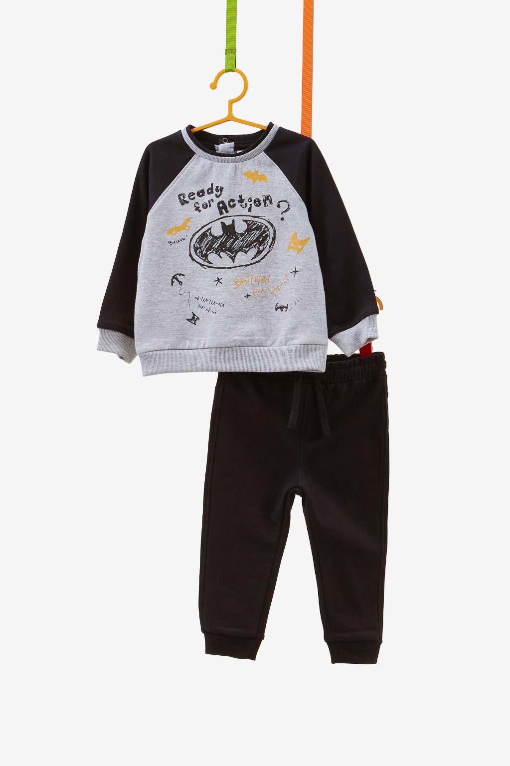 חליפת פוטר OVS עם הדפס של באטמן לילדים - שחור ואפור