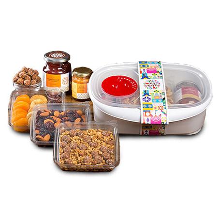 מארז הכולל כלי למיקרוגל ומיקס פירות יבשים ואגוזים מור ולבונה