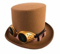 כובע מגבהת חומה עם משקפיים