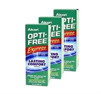 """מארז שלישיית תמיסות Opti Free Express כולל מחסניות לעדשות Alcon מכיל 355 מ""""ל"""