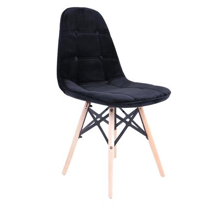 כסא בריפוד קטיפה לפינת האוכל בעיצוב מודרני בצבע שחור