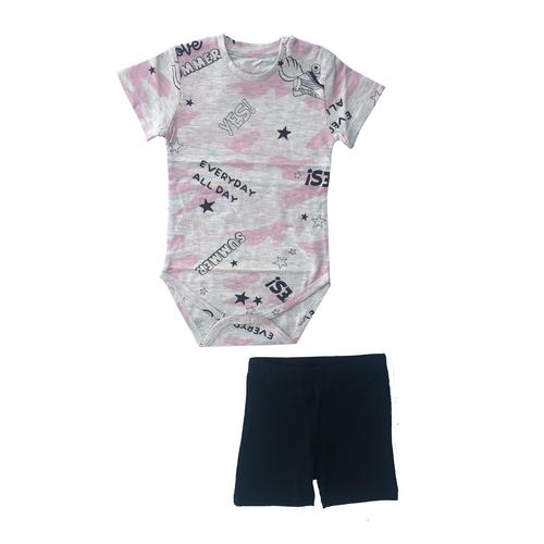 Minene חליפת בגד גוף (6-24 חודשים) - אפור ורוד