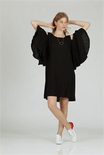 שמלה כתף שחור - קקאו