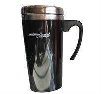 כוס תרמית מנירוסטה בשילוב פלסטיק בנפח 0.42 ליטר המיועדת לשתייה חמה או קרה Thermos