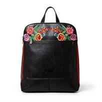 Desigual Bols Oima Lima - תיק גב שחור עם הדפס טרופי של עלים ופרחים