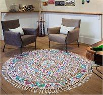 שטיח צמר פרחוני מעוצב עגול מעבודת יד משולב שלל צבעים במגוון גדלים לבחירה