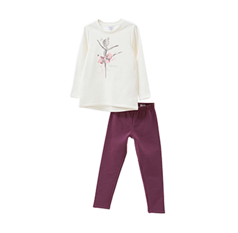 חליפת פוטר OVS עם הדפס נוצץ לילדות - לבן וסגול