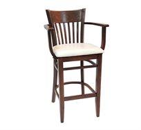 כסא בר למטבח מעץ כולל ריפוד מושב וידיות דגם גאולה