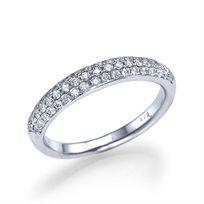 """טבעת אירוסין זהב לבן """"פאריס"""" 0.60 קראט בשיבוץ פאווה"""