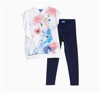 סט חולצה ומכנסיים OVS לילדות - לבן וכחול עם הדפס פרוזן