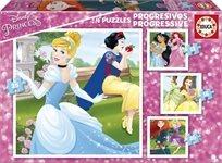 4 פאזלים לפעוטות - נסיכות דיסני 12-25 חלקים