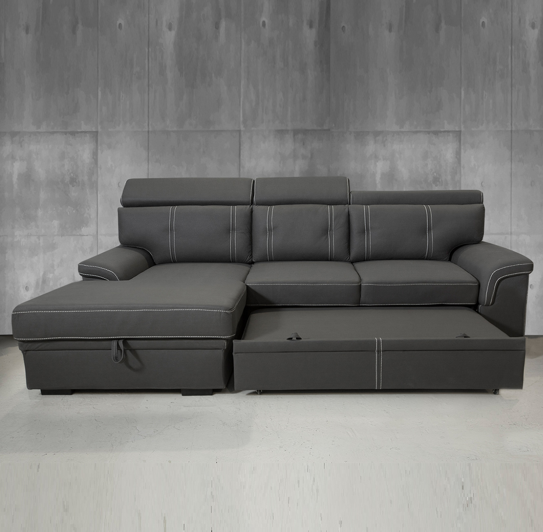 ספה פינתית תלת מושבית מרופדת בצבע אפור הנפתחת למיטה דגם אנג'ל VITORIO DIVANI - תמונה 2