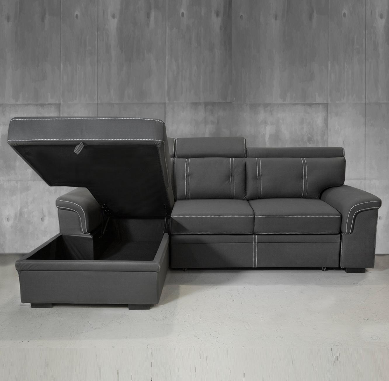 ספה פינתית תלת מושבית מרופדת בצבע אפור הנפתחת למיטה דגם אנג'ל VITORIO DIVANI - תמונה 4