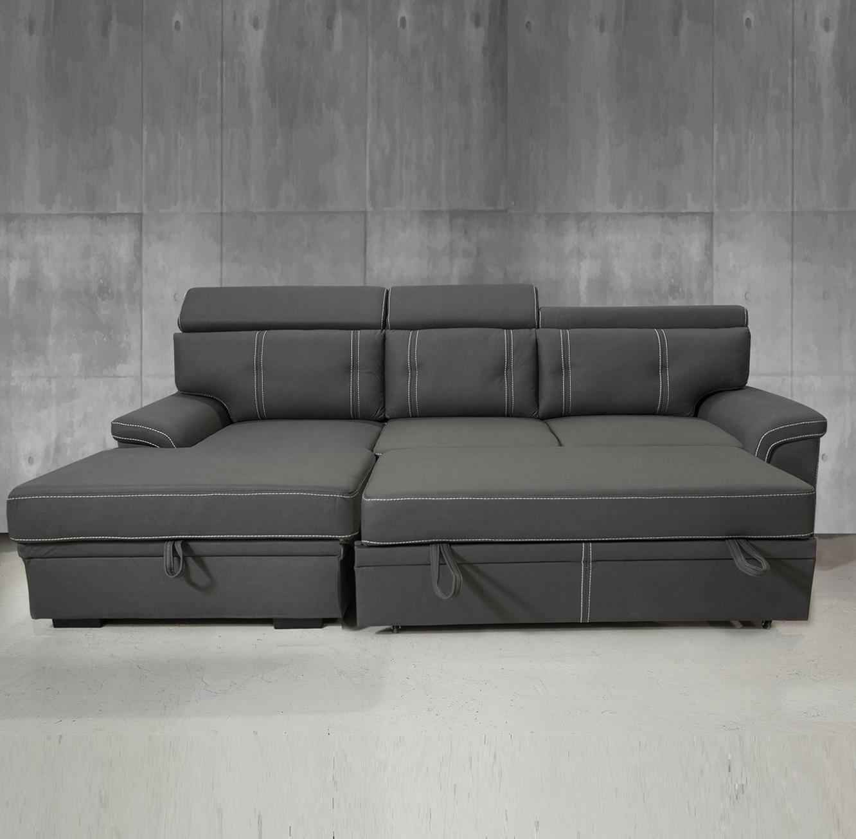 ספה פינתית תלת מושבית מרופדת בצבע אפור הנפתחת למיטה דגם אנג'ל VITORIO DIVANI - תמונה 3