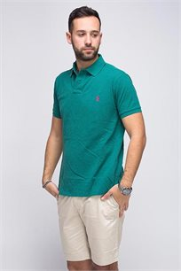 חולצה פולו POLO RALPH LAUREN CLASSIC FIT - ירוק כהה