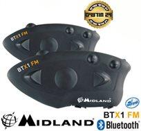 זוג דיבוריות Bluetooth A2DP לאופנועים, רדיו FM, מסנן רעשים, שיחות בין רוכב למורכב MIDLAND BTx1 FM