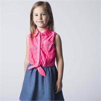 Us Polo יו אס פולו (3 שנים) שמלה תחרה שילוב ג'ינס - ורוד