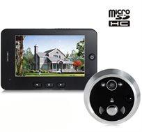 """עינית דיגיטלית לדלת עם מסך ענק של 4.3"""", כולל חיישן תנועה וצילום וידיאו"""