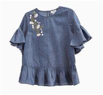 חולצת ג'ינס קצרה לילדות עם רקמה פרחונית