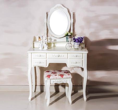 שידת איפור טואלט בעיצוב וינטג׳  7 מגירות, מראת איפור מתכווננת וכיסא תואם במתנה  - משלוח חינם - תמונה 4