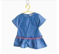 חולצת כותנה רקומה לילדות עם עיטורי מלמלה בצבע נייבי