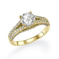 """טבעת אירוסין זהב צהוב """"קטיה"""" 1.20 קראט בסגנון וינטאג"""