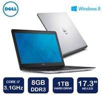 """מחשב נייד """"17.3 Dell Inspiron דגם 17-5748 בעל מעבד Intel Core I7, זיכרון 8GB, דיסק קשיח 1TB ו-WIN8.1"""