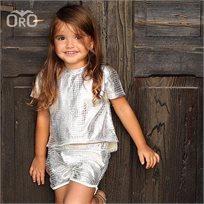 חליפת שורט Oro לילדות (מידות 2-7 שנים) כסוף